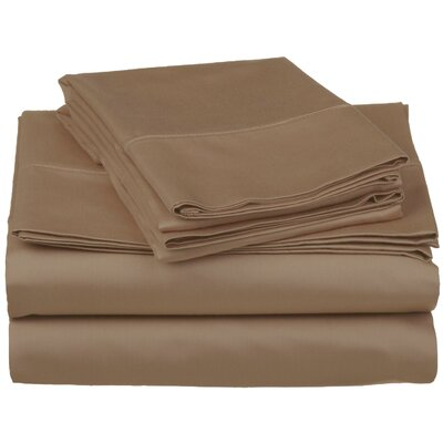 Surratt 500 Thread Count 100% Cotton Sheet Set Color: Taupe, Size: Extra-Long Twin