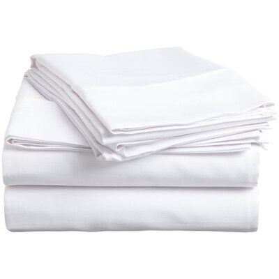Surratt 500 Thread Count 100% Cotton Sheet Set Size: Queen, Color: White