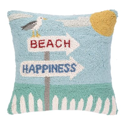 Brylee Beach Hook Wool Throw Pillow