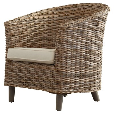 Biscayne Park Barrel Chair Finish: Brown, Upholstery: White
