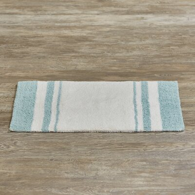 Bellair-Meadowbrook Terrace Bath Rug Size: 27 x 45, Color: White/Aqua