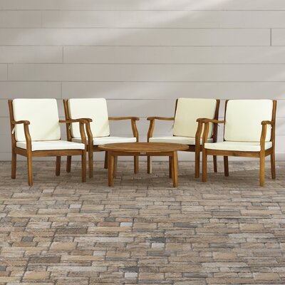 Atia 5 Piece Lounge Seating Group with Cushions Finish: Teak  Brown