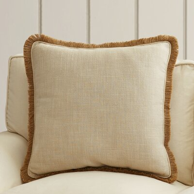 Wendell Square Linen Throw Pillow Size: 18 H x 18 W x 4 D, Color: Gold/Beige