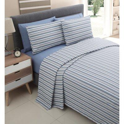 Millside 200 Thread Count Cotton Sheet Set Color: Blue, Size: King