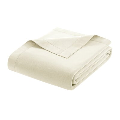 Oceanview Micro Fleece Throw Blanket Size: Twin, Color: Ivory