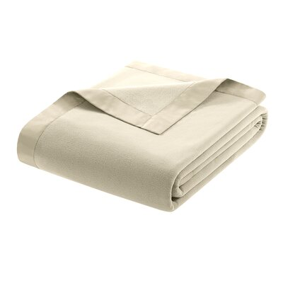 Oceanview Micro Fleece Throw Blanket Size: Twin, Color: Natural