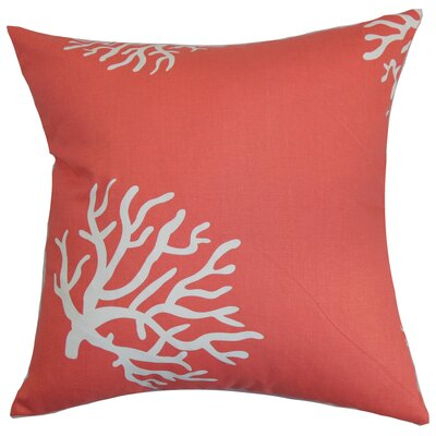 Sunil 100% Cotton Throw Pillow Color: Coral White, Size: 22 x 22