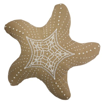 Palmona I Sea Life Embroidered Starfish Outdoor Sunbrella Throw Pillow Color: Heather Beige