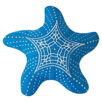 I Sea Life Embroidered Starfish Indoor/Outdoor Sunbrella Throw Pillow Color: Capri Blue