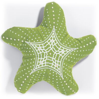 Palmona I Sea Life Embroidered Starfish Outdoor Sunbrella Throw Pillow Color: Kiwi