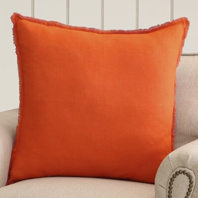 Bard Linen Throw Pillow Size: 18 H x 18 W x 4 D, Color: Bright Orange/Fuschia, Filler: Polyester