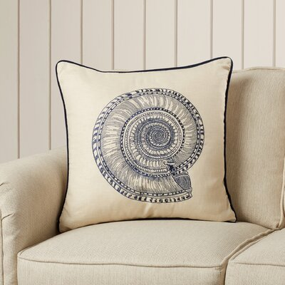Nautilus Embroidered Linen Pillow Cover