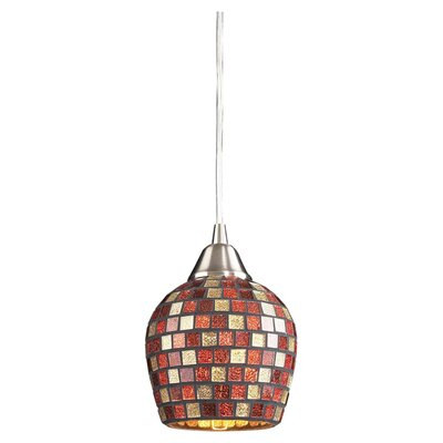 Roehampton Three Forks 1-Light Mini Pendant Finish: Satin Nickel and Multi Mosaic Glass