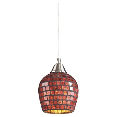Roehampton Three Forks 1-Light Mini Pendant Finish: Satin Nickel and Copper Mosaic Glass