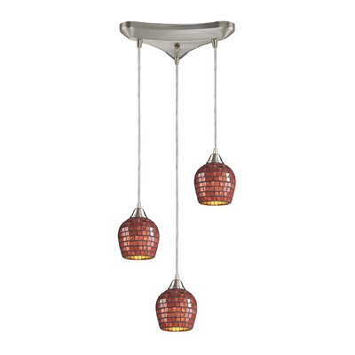 Roehampton Three Forks 3-Light Cascade Pendant Finish: Satin Nickel and Copper Mosaic Glass
