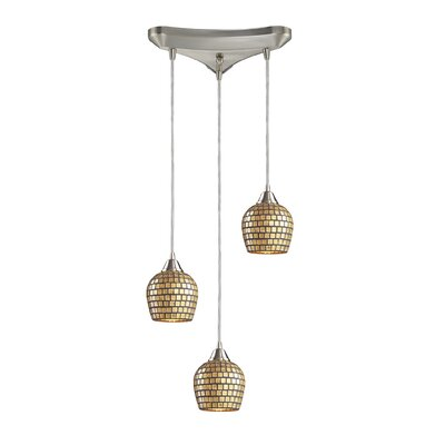 Roehampton Three Forks 3-Light Cascade Pendant Finish: Satin Nickel and Gold Mosaic Glass