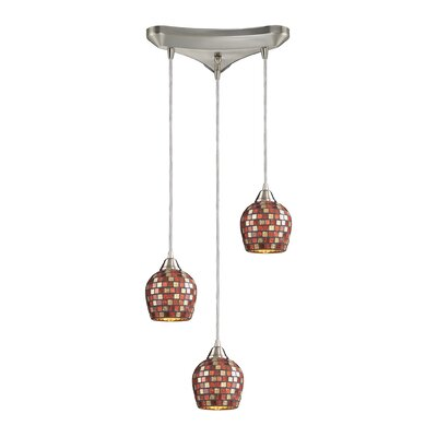 Roehampton Three Forks 3-Light Cascade Pendant Finish: Satin Nickel and Multi Mosaic Glass