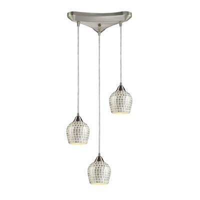 Roehampton Three Forks 3-Light Cascade Pendant Finish: Satin Nickel and Silver Mosaic Glass