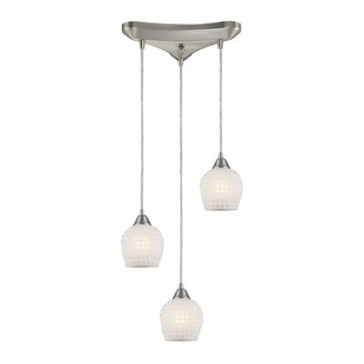 Roehampton Three Forks 3-Light Cascade Pendant Finish: Satin Nickel and White Mosaic Glass