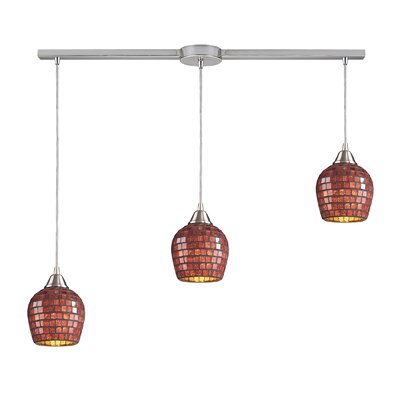 Roehampton 3-Light Kitchen Island Pendant Finish: Satin Nickel and Copper Mosaic Glass