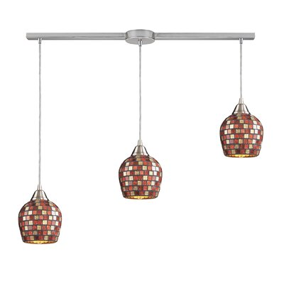 Roehampton 3-Light Kitchen Island Pendant Finish: Satin Nickel and Multi Mosaic Glass