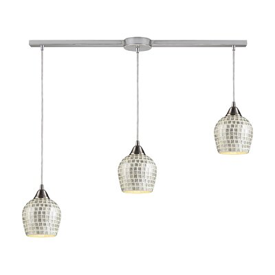 Roehampton 3-Light Kitchen Island Pendant Finish: Satin Nickel and Silver Mosaic Glass
