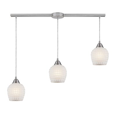Roehampton 3-Light Kitchen Island Pendant Finish: Satin Nickel and White Mosaic Glass