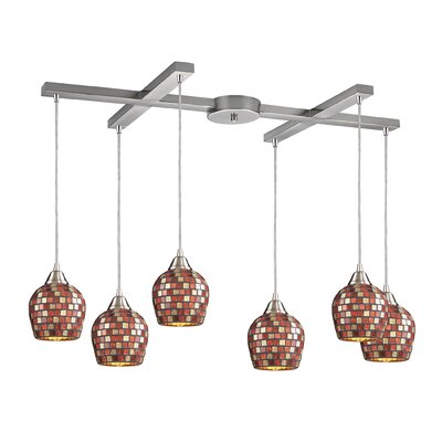 Roehampton Three Forks 6-Light Kitchen Island Pendant Finish: Satin Nickel and Multi Mosaic Glass