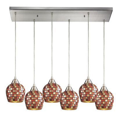 Roehampton 6-Light Kitchen Island Pendant Shade Color: Multi