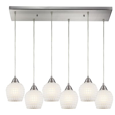 Roehampton 6-Light Kitchen Island Pendant Shade Color: White