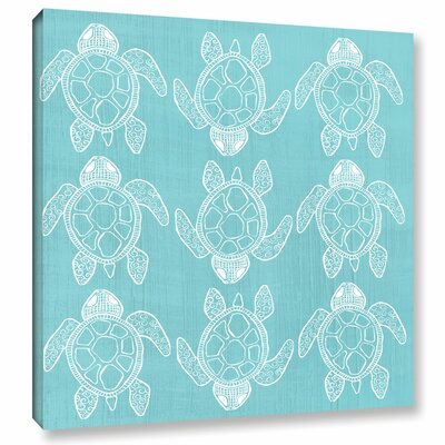 Turtle Pattern Graphic Art on Wrapped Canvas in Blue Size: 14