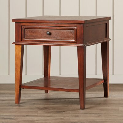 Emerson 1 Drawer End Table Color: Sepia