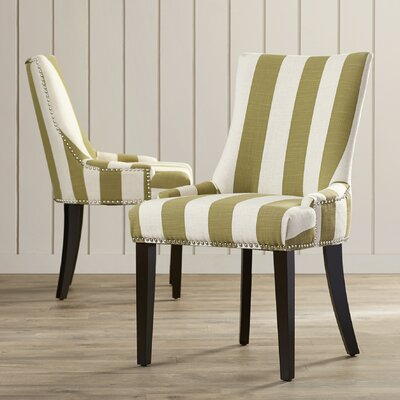 Gowanus Dining Chair Upholstery: Sweet Pea Green / White Stripe