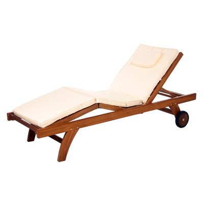Pleasanton Outdoor Lounger Cushion Color: White