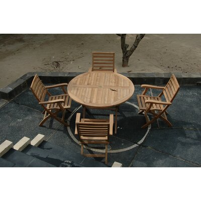 Farnam 5 Piece Teak Wood Dining Set