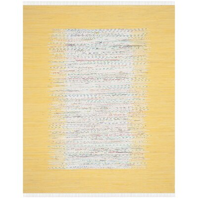 Ona Hand-Woven Cotton Ivory/Yellow Area Rug Rug Size: Rectangle 4 x 6