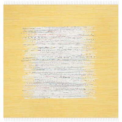 Ona Hand-Woven Cotton Ivory/Yellow Area Rug Rug Size: Square 6