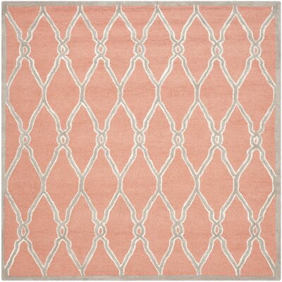 Hagley Hand-Woven Wool Orange/Ivory Area Rug Rug Size: Square 6
