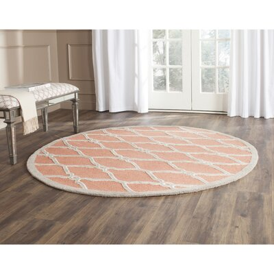 Hagley Hand-Woven Wool Orange/Ivory Area Rug Rug Size: Round 6