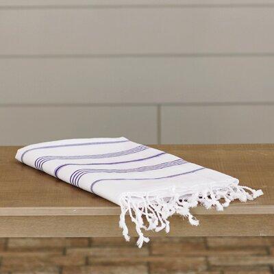 100% Turkish Cotton Pestemal/Fouta Beach Towel Color: White / Purple