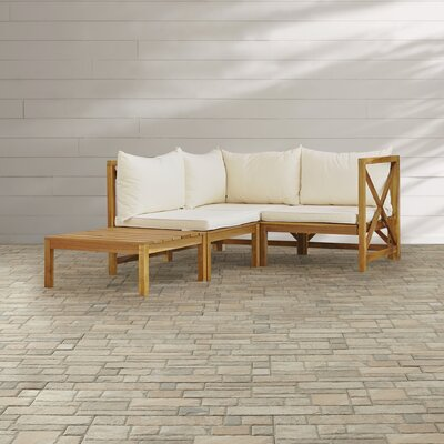 Sanibel Lynwood Modular Outdoor 4 Piece Seating Group with Cushion Finish: Teak Brown / Beige