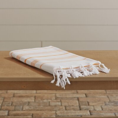 Rische 100% Turkish Cotton Pestemal/Fouta Beach Towel Color: White / Dark Orange