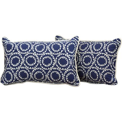 Averie Outdoor Lumbar Pillow Fabric: Navy, Size: 11.5 H x 18.5 W x 5 D