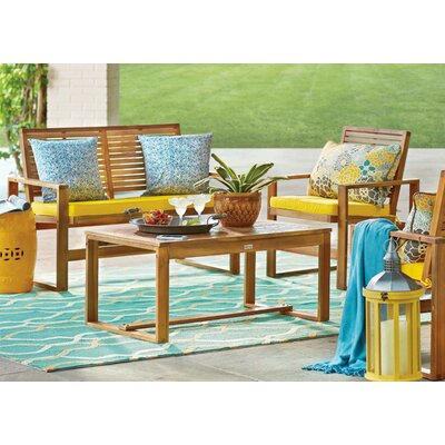 Black Diamond 4 Piece Lounge Seating Group with Cushions Finish: Brown / Yellow