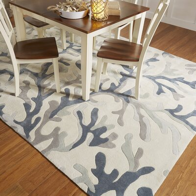 Cherrywood Hand Tufted Light Gray/Teal Area Rug Rug Size: 36 x 56