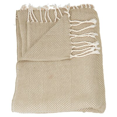 Alachua Cotton Throw Blanket Color: Beige
