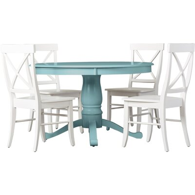 Stock Island 5 Piece Pedestal Dining Set Chair Color: Mint, Table Color: Antique White