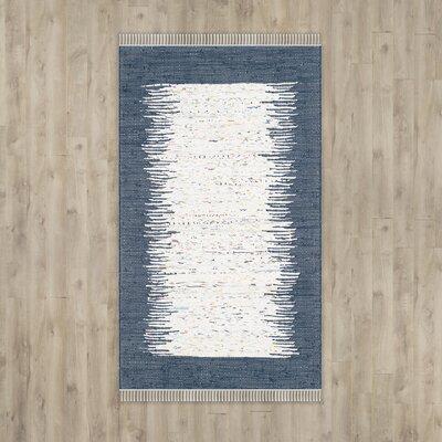 Ona Hand-Woven Ivory / Navy Area Rug Rug Size: 6 x 9
