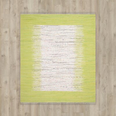 Ona Hand-Woven Cotton Ivory/Lime Area Rug Rug Size: Rectangle 9 x 12