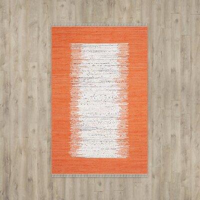 Ona Hand-Woven Cotton Ivory / Orange Area Rug Rug Size: 6 x 9